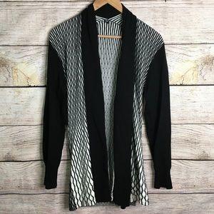 Lapis textured black and white open cardigan
